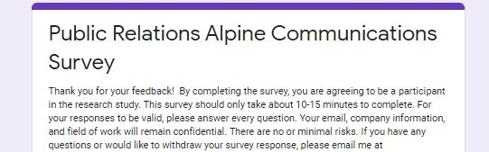 Help Us Out and Complete This 10 Minute Survey!